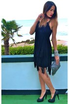 black Zara dress - silver Zara bag - black hazel heels