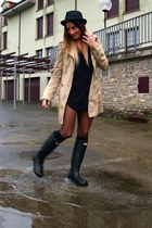 black Hunter boots - beige Stradivarius coat - black Uterqe hat