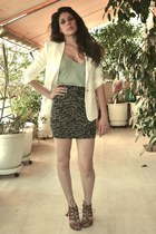 lime green tank Zara top - white Massimo Dutti blazer - black ruched H&M skirt