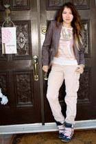 crimson tweed blazer H&M jacket - neutral slimmer front H&M top