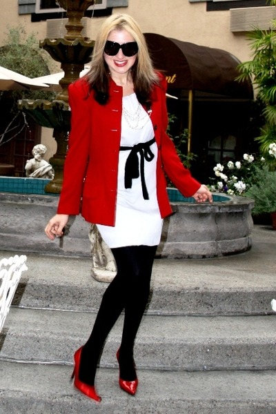 Red Jacket Ann Taylor Blazer Off White Sheath Forever 21 Dress
