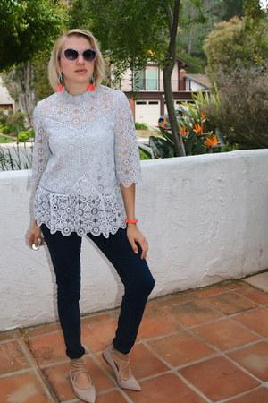 light blue lace peplum Chicwish top - navy H&M jeans - Gucci sunglasses