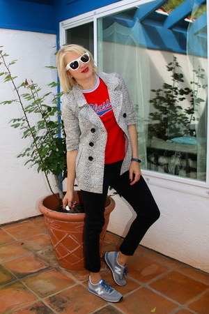 heather gray Forever 21 jacket - white Alexander McQueen sunglasses