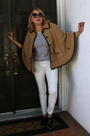 camel cape Forever 21 coat - white skinny H&M jeans - white striped JCrew top