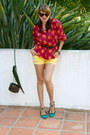 Yellow-target-shorts-maroon-floral-tucker-blouse-teal-shoedazzle-sandals