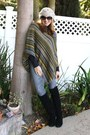Beanie-beret-forever-21-hat-steve-madden-boots-pancho-max-studio-sweater