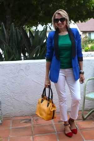 blue blazer Rock Republic jacket - mustard vintage purse - green JCrew top