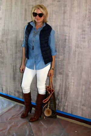 white white denim Zara jeans - brown Via Spiga boots