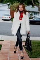 white Bebe coat - dark gray skinny closet jeans - black Gap sweater