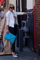 white linen blazer Forever 21 jacket - turquoise blue envelope clutch asos purse
