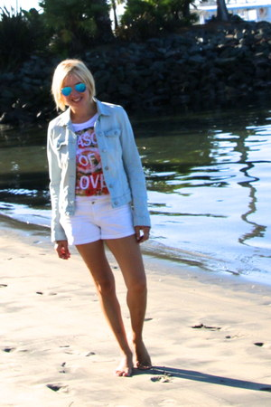 light blue denim light H&M jacket - white white denim H&M shorts