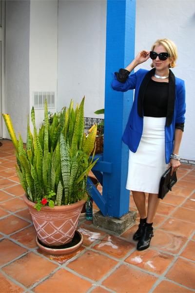 blue satin lapel Rock Republic jacket - black booties franco sarto boots