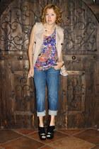 tan Forever 21 coat - navy boyfriend style Newport News jeans
