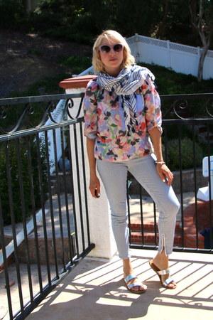 light blue striped skinny madewell jeans - sky blue fringed Forever 21 scarf