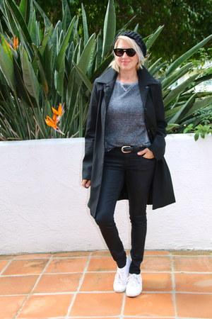 black trench Adrianne Vittadani coat - black coated Forever 21 jeans