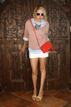white tailored H&M shorts - beige wooden platorms Luxury Rebel shoes