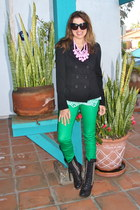 black studded flat Steve Madden boots - green asos jeans