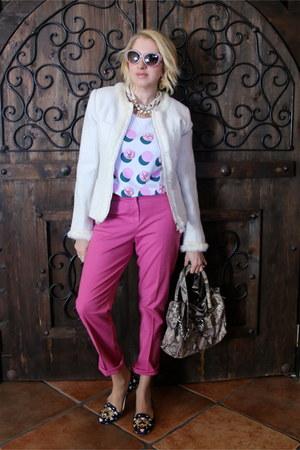 white fur trim tweed TJ Maxx jacket - tan Michael Kors purse