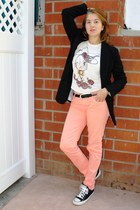 skinny colored jeans - Newport News jacket - leather Ralph Lauren belt - top