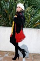 black Gabriella Rocha boots - ivory beret Forever 21 hat