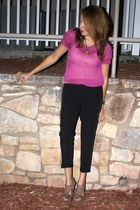 brown necklace - hot pink blouse - yellow belt - black pants - brown watch