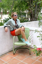 aquamarine Forever 21 jacket - red J Crew shorts
