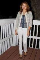 brown Limited belt - white skinny Forever 21 jeans - light blue jacket