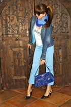 blue patent leather MAXX purse - navy denim La Redoute jacket