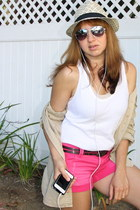 black fedora Forever 21 hat - tan utility Gap jacket - hot pink TJ Maxx shorts