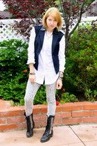 navy tailored Forever 21 vest - black studded lace up Steve Madden boots