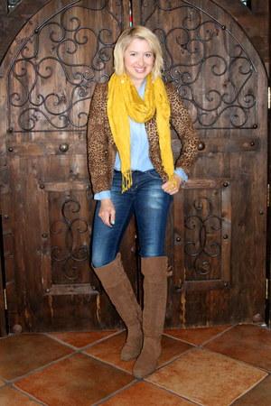 brown animal print vintage jacket - light brown otk Shoedazzle boots