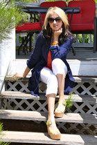 mustard vera wang shoes - navy Kika Paprika jacket - white capri D&G pants