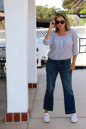 navy kick flares Anthropologie jeans - light blue striped Gap blouse