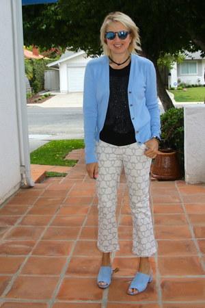 sky blue cut out back Cabi cardigan - white Cabi pants