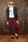 Black-moto-forever-21-jacket-brick-red-tartan-plaid-rock-rebuplic-pants