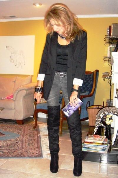 588adb981a2 black Newport News jacket - gray closet jeans - black ann taylor top -  silver Fo