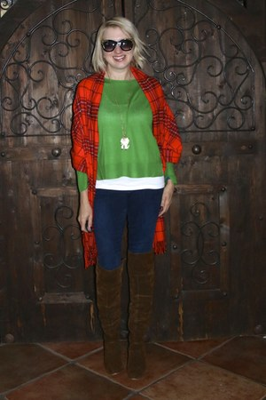 green Zara sweater - brown otk suede boots Sole Society boots