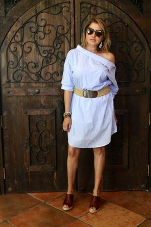 brown italian wedges - light blue shein dress