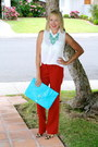 Clutch-asos-purse-flared-forever-21-pants-forever-21-blouse