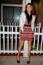 tawny Forever 21 dress - white blazer linen Forever 21 jacket - black scarf
