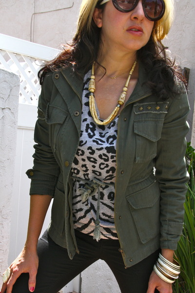 Ivory Various Accessories Olive Green Military Forever 21 Jackets