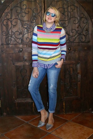 blue Forever 21 jeans - brick red striped Gap sweater