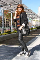 black Newport News jacket - tawny striped knit Forever 21 sweater