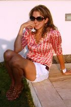 red Bebe blouse - white Target shorts - brown Limited belt - brown Michael Kors