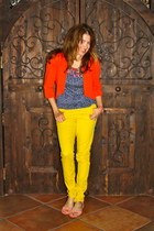 yellow colored denim Forever21 jeans - carrot orange Kika Paprika jacket