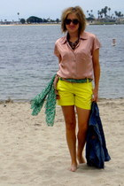 tawny J Crew belt - green worn as belt H&M scarf - yellow 5 cuff J Crew shorts
