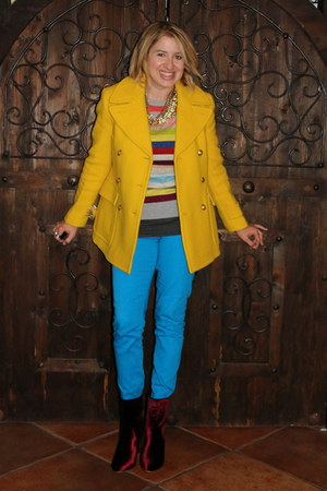 brick red velvet booties Amazon boots - yellow JCrew coat