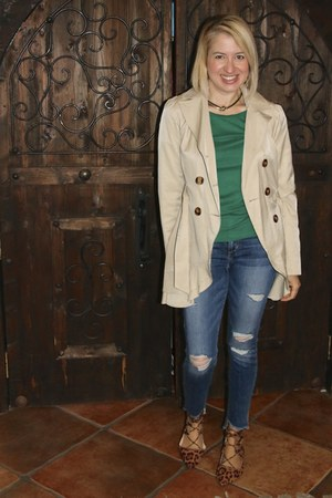 tan trench Guess coat - navy JCrew jeans - green JCrew top