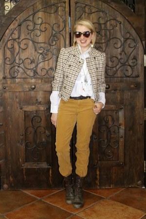 brown Karen Walker sunglasses - dark brown rugged boots Steve Madden boots