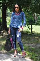 gifted jeans - Walmart shirt - sam edelman sandals